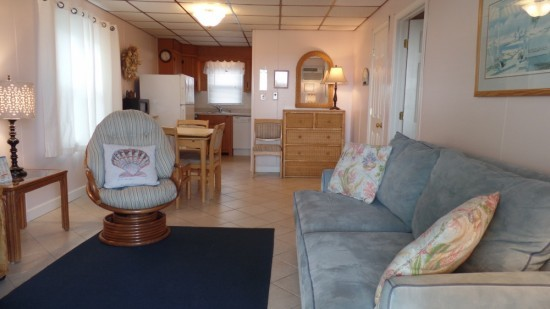 Ocean City MD rental with large living room kitchen and walking space.